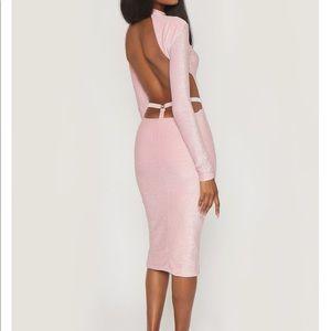 NWT Meshki Pink Shimmer Armelle Dress Size L
